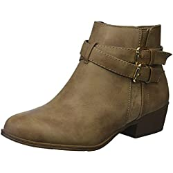 Women's Buckle Straps Stacked Low Heel Ankle Booties khaki 6.5
