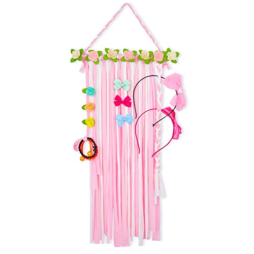 (QtGirl Flower Hair Bow Holder Organizer Hair Accessories Organizer Hair Clips Storage Headband Hanger for Girls)