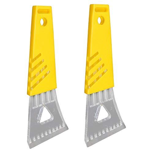 Set of 2 - Windshield Ice Scrapers - Yellow Comfort Grip Handle.