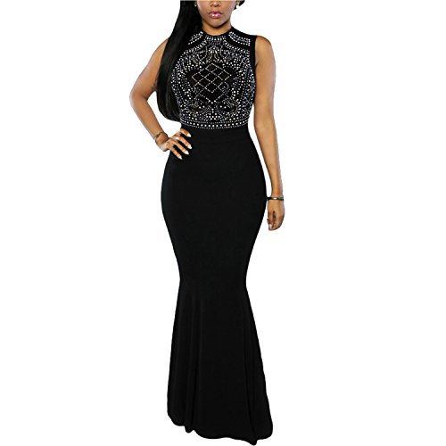CoCo Fashion Women's Long Fitted Beading Sleeveless Mermaid Evening Gown (X-Large)
