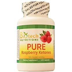 Biotech Nutritions Pure Raspberry Ketones 500 mg Per Serving 120 capsules, 100% Natural and Pure Raspberry Ketones 250mg Per Pill, Weight Loss, Appetite Suppressant