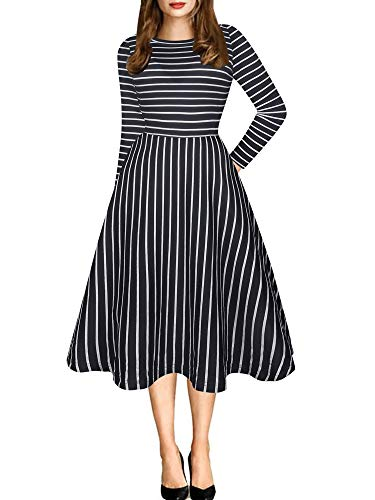 oxiuly Women's Vintage Classic Stripe Long Sleeve Casual Pockets Tunic Party Cocktail Cotton Blend A-Line Dress OX262 (L, NB Stripe 9) ()