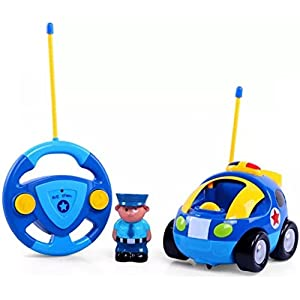 Haktoys My First RC Cartoon Police Car - Radio Control Toy for Toddlers & Kids with Music and LED Headlights