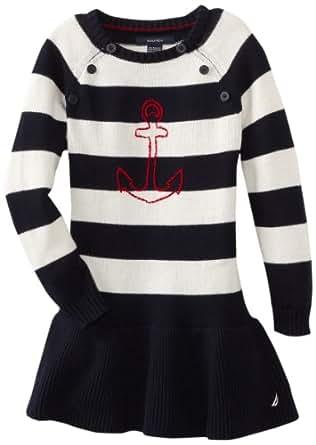 Nautica Little Girls' Long Sleeve Striped Sweater Dress, New Sport Navy, 5