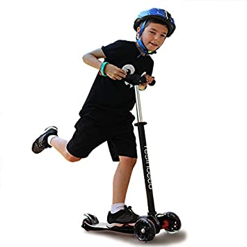 YESINDEED Kids Light Up Scooter 3 Wheel Scooter for Kids 4 Adjustable Handlebar Heights, PU Wheels with LED Lights, Lean to Steer Three Wheeled Scooter Scooters for Kids Toddlers Ages 2-12