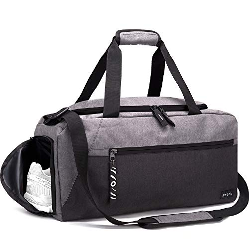 Rotot Sport Duffle Gym Bag, Men Women Duffel Gym Bag with Waterproof Shoe Pouch, Weekender Travel Bag with a Water-resistant Insulated Pocket (33L, Gray)