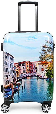 NEWCOM Luggage 24 Inch Spinner Hardside ABS PC Lightweight Rolling Suitcase Colorful Cityscapes Printed Graffiti Stylish