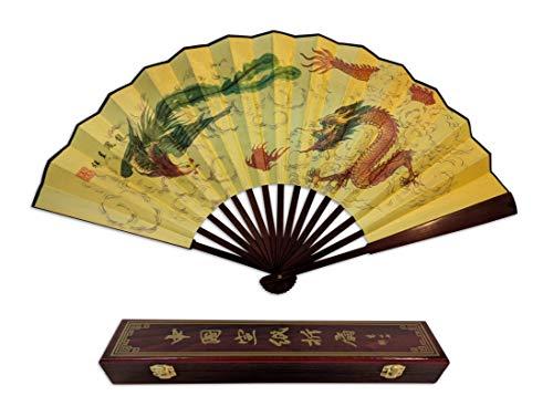 Folding Hand Fan Chinese Gifts! Dragon Phoenix Large Handheld Fan +Gift Box Home Decoration ()