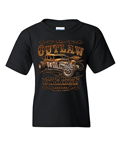 (The Outlaw Hot Rod Garage Youth T-Shirt Performance American Muscle Kids Tee Black S)
