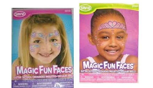 Magic Fun Faces Glitter Tattoos ~ 2 Pack