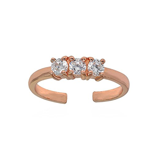 3 Stone Toe Ring In 14k Yellow Gold Plated Wth White Cz Diamonds (rose-gold-plated-bronze) by Jalash