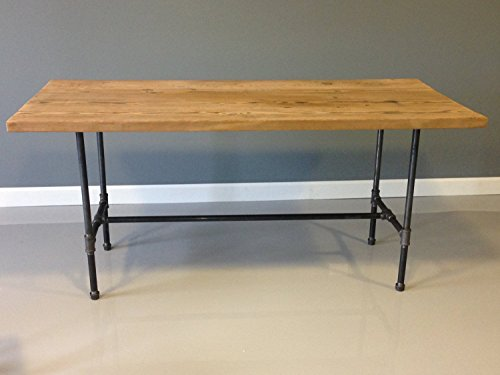 Barn Wood Dining Table with Industrial Steel Pipe Legs