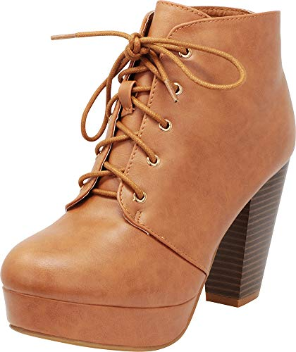 Cambridge Select Women's Lace-Up Platform Chunky Stacked Heel Ankle Bootie