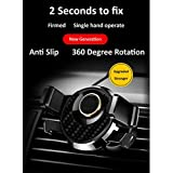Refaxi 360° Universal Gravity Car Mount Air Vent Phone Holder Cradle For Cell Phone GPS (Black Silver)
