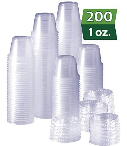 [200 Sets - 1 oz.] Plastic Disposable Portion Cups with Lids, Souffle Cups