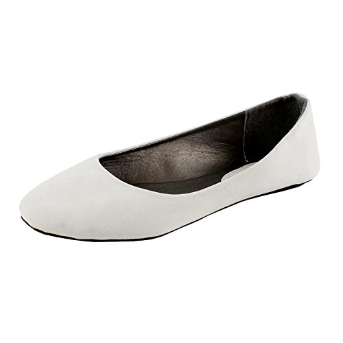 (West Blvd Womens Ballet Flats Slip On Shoes Ballerina Slippers, White Suede, US)