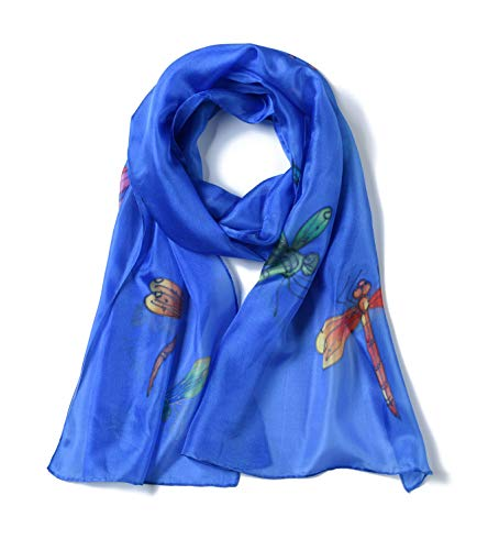 (Invisible World Women's 100% Silk Scarf Hand Painted Dragonfly Celestial)