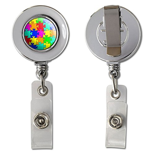 Rainbow Puzzle Pieces - Hearts Autism Retractable Reel Chrome Badge ID Card Holder Clip