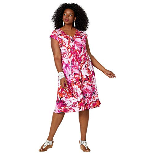 Avenue Women's Red and Pink Abstract Print Fit and Flare Dress, 18/20 Fuchsia