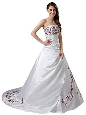Oailiya Women's Embroidery Satin Wedding Dress Bride Gown