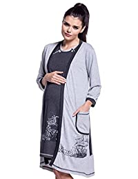Zeta Ville - Maternity Womens Nursing Nightdress Robe Set Labour Hospital - 379c