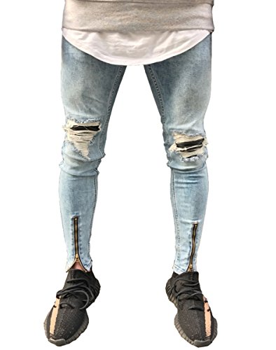 d7335b3514ac Men's Vintage Skinny Fit Zipper Biker Ripped Jeans Slim Leg Denim Pants Blue  30a