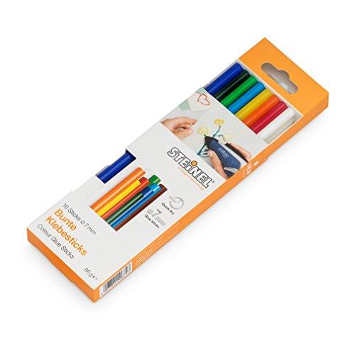 farbige Steinel Klebesticks  7 mm Durchmesser Heißklebestifte, Bunte Heißklebe-Patronen mit 150 mm Länge, kraftvoller Universal-Klebstoff für die Verklebung von verschiedenen Materialien, 96 g Packung, 006969 16 Stück