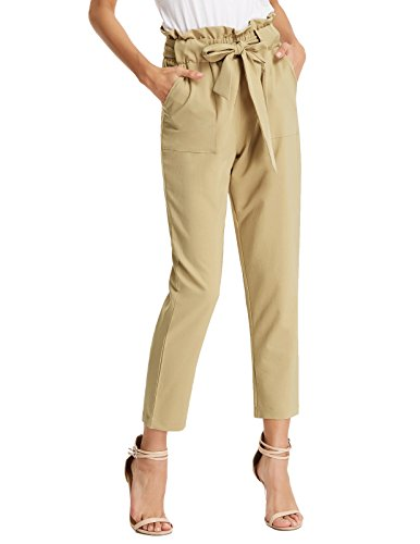 GRACE KARIN Women's Slim Straight Leg Teens Pants with Pockets XXL AF1011-2 Khaki