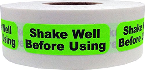 Fluorescent Green with Black Shake Well Before Using Stickers, 0.5 x 1.5 Inches in Size, 500 Labels on a Roll by InStockLabels.com