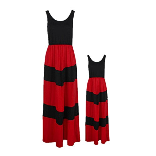 Anboo Mommy and Daughter Matching Stripe Stitching Dress Dresses Long Maxi Beach Sundress Casual Family Clothes