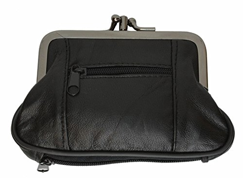 LeatherBoss Large Coin Purse Double Frame With Zipper Pocket - Black s 3.1/2