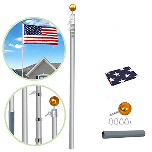 Supole Extra Thick 20FT Telescoping Flag Poles kit Can Fly 2 Flags, Heavy Duty Aluminum Flagpole with 3'x5' US American Polyester Flag & Golden Ball for Outdoor Commercial or Residential, ()