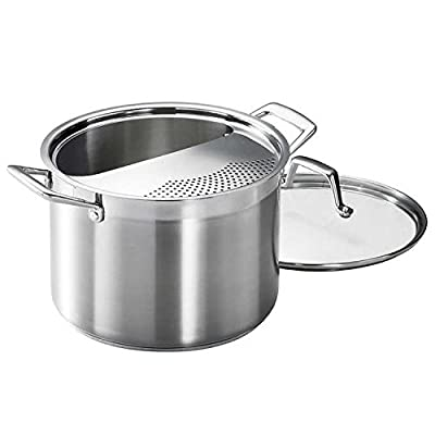 Tramontina 8-Quart Lock & Drain Pasta Cooker Pot with Strainer Lid, 18/8 Stainless Steel