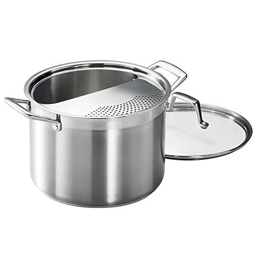 Tramontina 80120/509DS Lock & Drain Pasta Cooker Pot with Strainer Lid, 18/8 Stainless Steel, Induction-Ready, Impact-Bonded, 8-Quart (Steel Cooker Stainless Pasta)