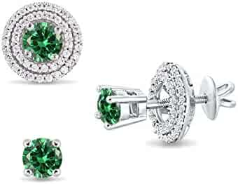 e624be7dffd2f2 Diamond Scotch 5mm Green Emerald May Birthstone Studs Removable Jacket Halo Stud  Earrings in White Gold