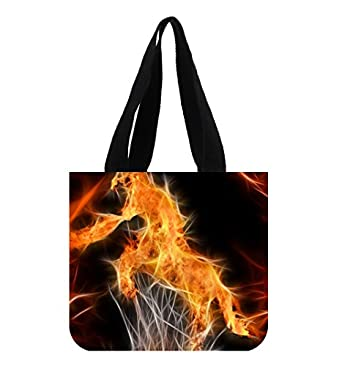 Fire horse custom beautiful canvas tote bag art print twin sides