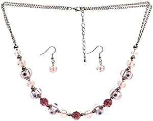 Lova Jewelry Pink Shamballa Inspired Necklace and Earrings Set
