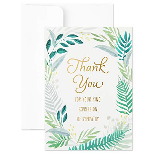 (Hallmark Thank You for Your Sympathy Cards, Gold Foil Greenery (20 Note Cards with Envelopes))