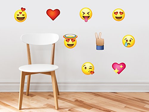 - Emoji Emoticon Fabric Wall Decals - Set of 9 Phone Text Faces Wall Stickers, Graphic Decal Kids Game Room Decor Art, Non-Toxic, Removable, Reusable, Respositionable