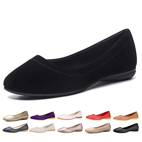 CINAK Women Flats Shoes - Slip-on Ballet Comfort Walking Shoes for Women (5-5.5 B(M) US/ CN37 / 9.2'', Black Matte) (Best Formal Shoes For Flat Feet)