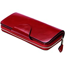 Itslife Luxury Women's RFID Blocking Tri-fold Leather Wallet Zipper Ladies Clutch