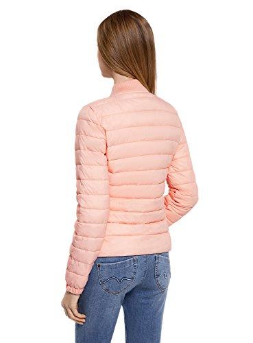 oodji Ultra Mujer Chaqueta Acolchada con Cuello de Punto Rosa (5400N)