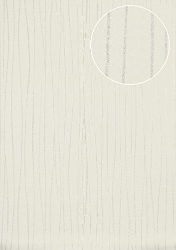 5077 Stripe - Stripes Wallpaper Wall Atlas ICO-5077-1 Non-Woven Wallpaper Smooth Design Shimmering White Oyster-White Silver 7.035 m2 (75 ft2)