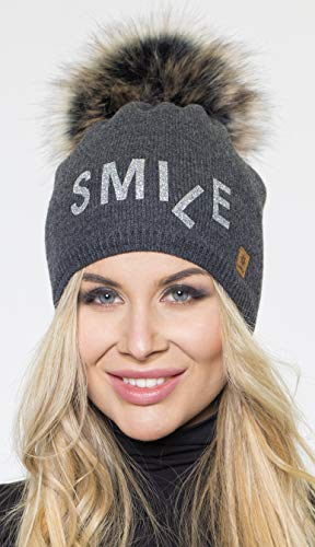 Polaire 2 Tricoté Pom Avec Black 4sold Model Snowboard Grand Bobble Womens Cap Bonnet Smile Ski Winter Gold Laine Doublure wFFRa61q