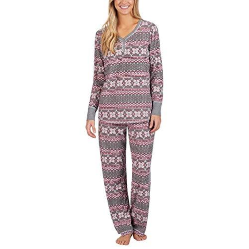 - Nautica Women's 2 Piece Fleece Pajama Sleepwear Set (Grey Fair Isle, Small)