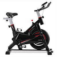 GLCHQ Home Gym Fitness Indoor Cycling Bike with Belt Driven Exercise Bike, Stationary Spinning Bike with Tablet Holder