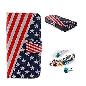 American Flag PU Full Body Case With The Dustproof Plug with Card Slot and Stand for iPhone 4/4S