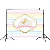 Allenjoy Polyester 7x5ft Children Birthday Photography Backdrops Rainbow Stripes Glittering Golden Unicorn Baby Shower Party Decoration Background for Photo Studio Shooting Photo Booth