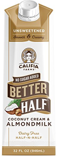 Califia Farms Better Half Coffee Creamer, Coconut Cream and Almondmilk, Half & Half, Dairy Free, Whole30, Keto, Vegan, Plant Milk, Non-GMO, Unsweetened, 32 Oz (Pack of 6)
