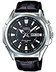 Casio MTP-E200L-1AV Mens Leather Band Illuminator Day Date Black Dial Watch